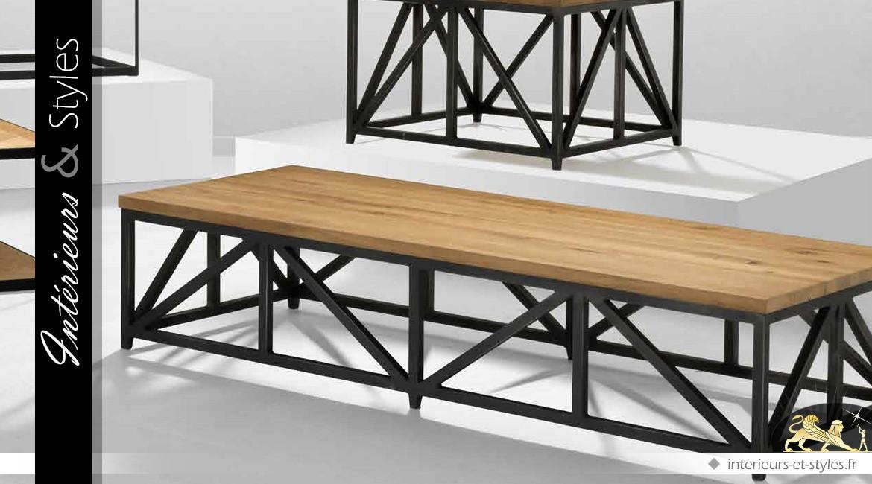 Table basse industrielle bois vieilli et m tal finition - Table basse zinc bois ...