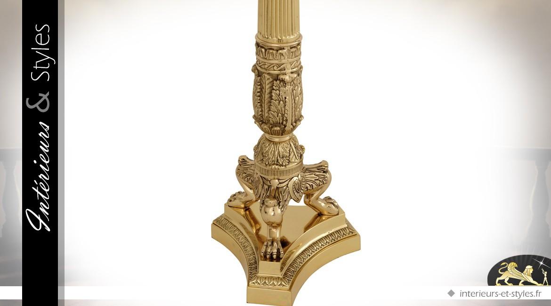 Chandelier baroque à six bras en laiton doré satiné 79 cm
