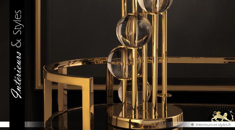 Grande lampe design dorée et noire 85 cm