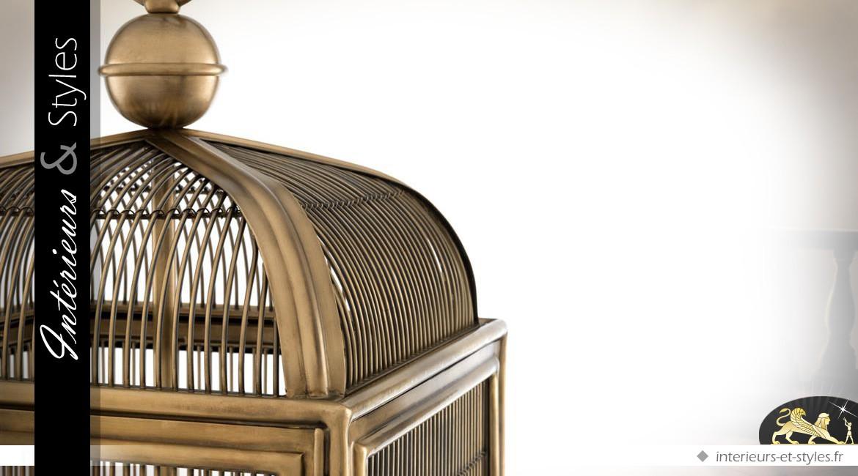 Suspension design cage à oiseaux nickel doré 81 cm