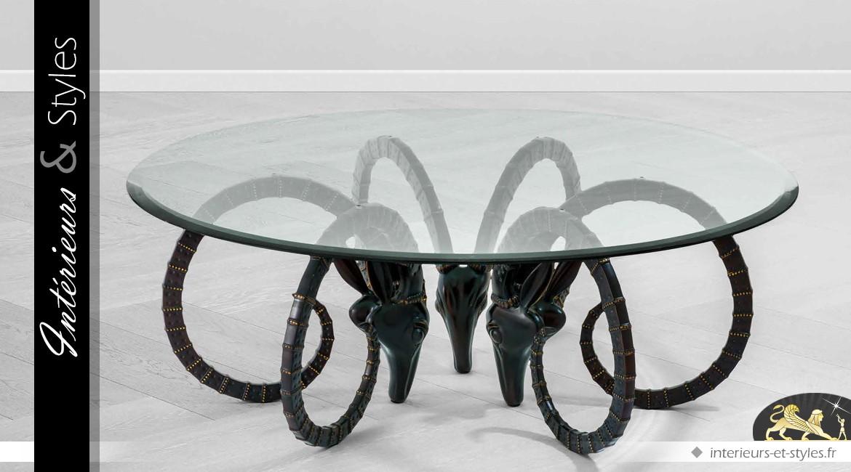Table basse ronde originale finition bronze antique et verre trempé