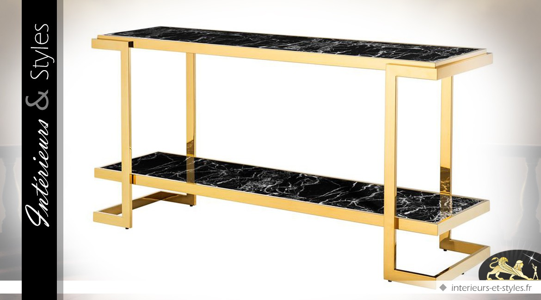 Console design dorée avec 2 plateaux en marbre noir intérieurs
