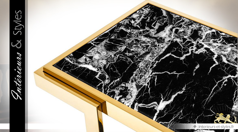 Console design dorée avec 2 plateaux en marbre noir