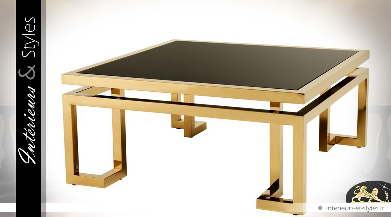 Table basse design carrée métal brillant doré plateau en verre noir