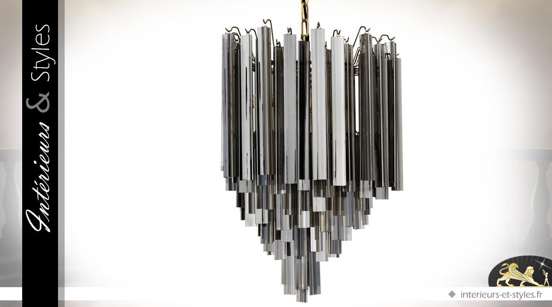 Lustre design style Art Déco en tubes argentés 61,5 cm