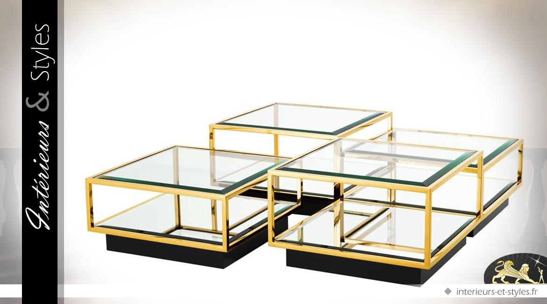 Table basse design noir et or modulable