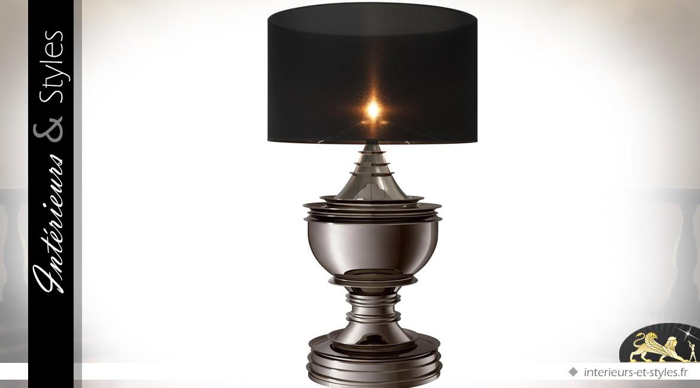 Trés grande lampe de salon noir et platine 120 cm