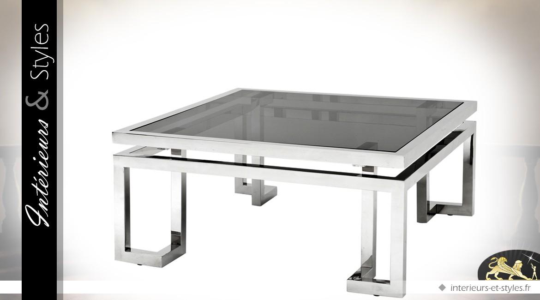 Table basse design carrée métal argenté plateau en verre fumé