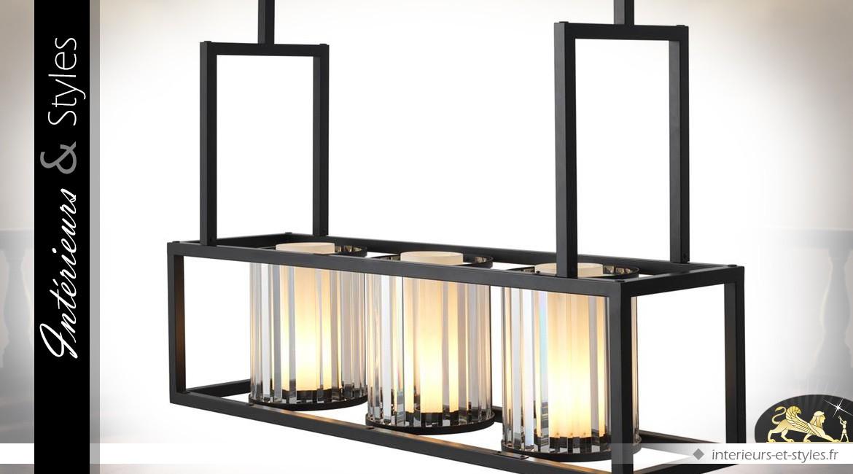 Suspension design lampe de billard noir chrome et albâtre
