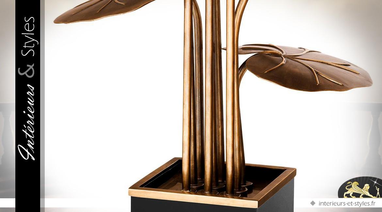 Lampe design laiton doré en forme de grande fleur en pot 110 cm