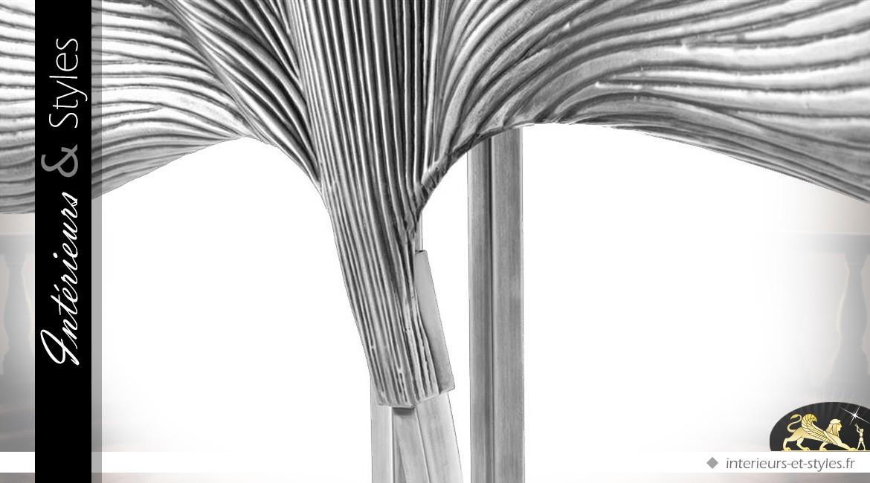 Lampadaire laiton argenté en feuilles de palmier stylisées 197 cm