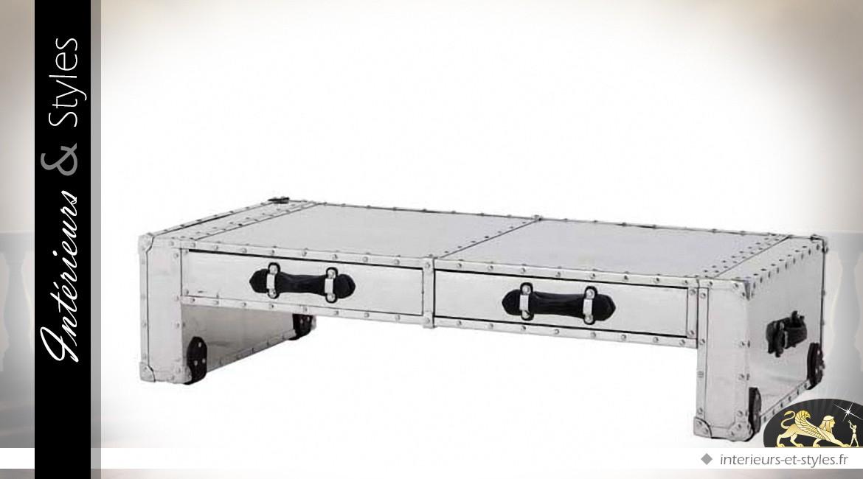 Table base Aviator en aluminium riveté et cuir noir