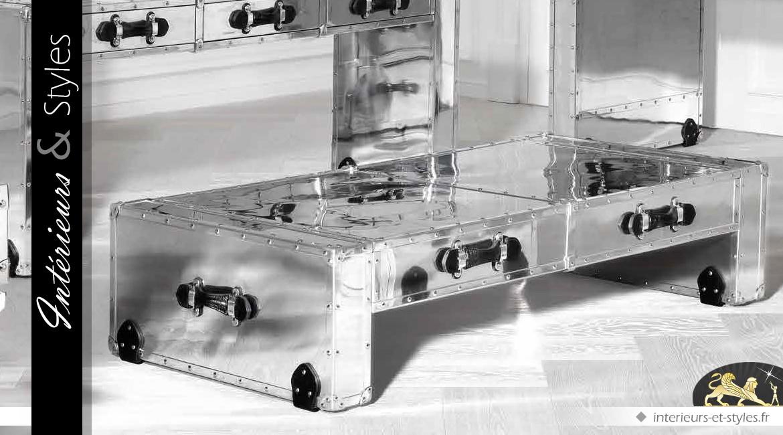 Table basse Aviator en aluminium riveté et cuir noir