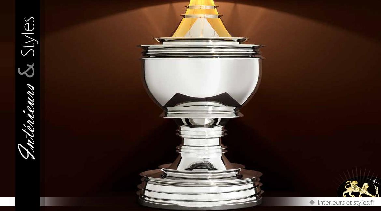 Trés grande lampe de salon noir et argent 120 cm