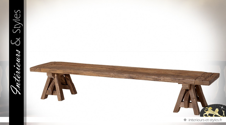 Table basse en ch ne massif ancien recycl 200 cm - Table basse en massif revetement ardoise ...