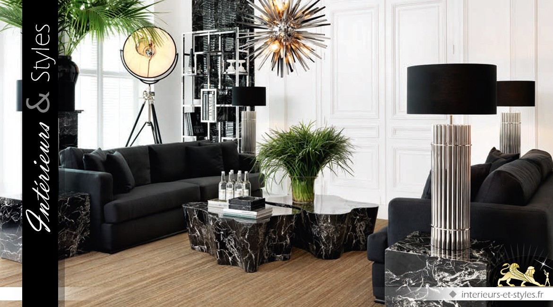 Grande lampe design cylindrique noir et argent 96,5 cm