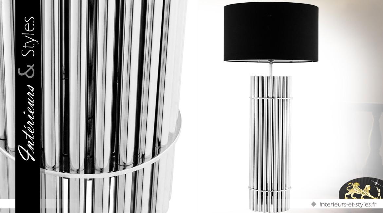 Grande Lampe Design Cylindrique Noir Et Argent 96 5 Cm Interieurs
