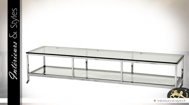 Longue table basse design en verre et métal argenté 190 cm