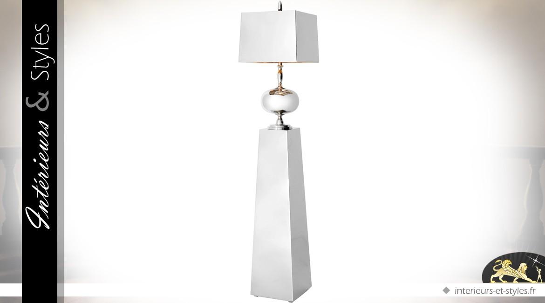 Lampe design chromée sur piédestal 166,5 cm