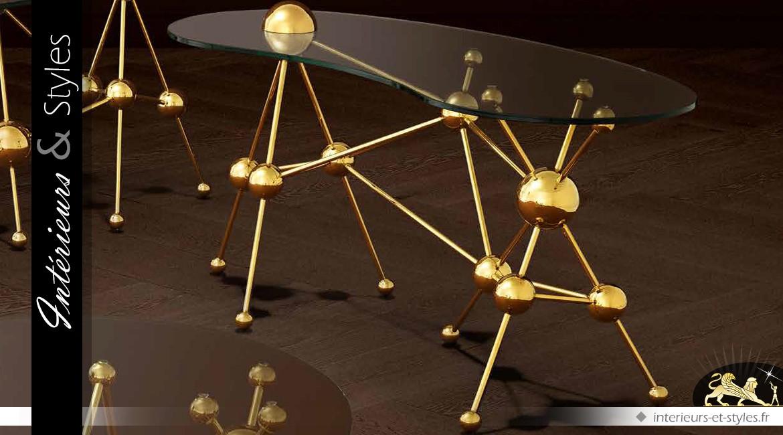 Bureau design en acier inox poli et doré Galileo 160 cm