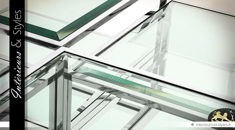 Table basse design noir et argent modulable