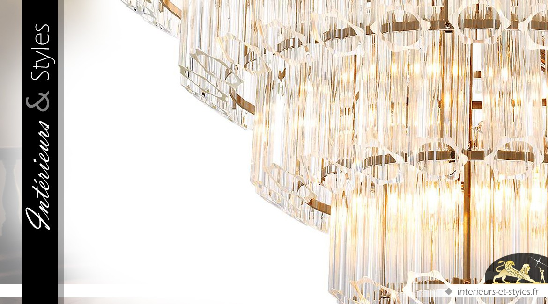 Grand lustre design cristal Art Déco 18 feux lumineux Ø 80 cm