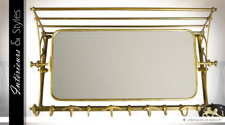 Miroir de vestiaire rétro et indus en laiton doré vieilli 75 cm