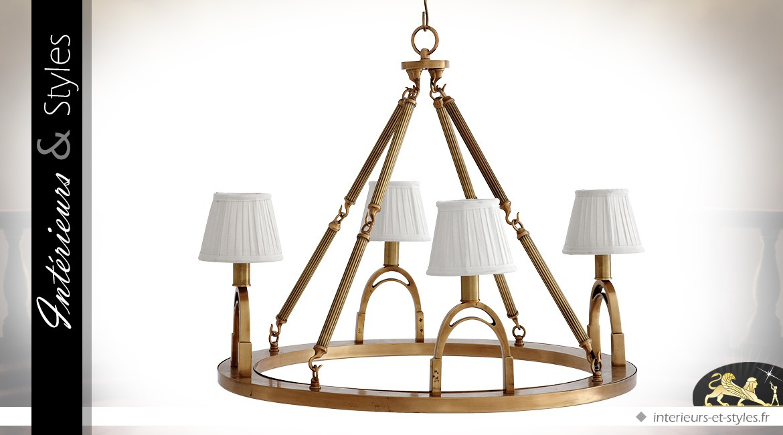 Suspension rétro en laiton doré avec 4 points d'éclairage Ø 70 cm