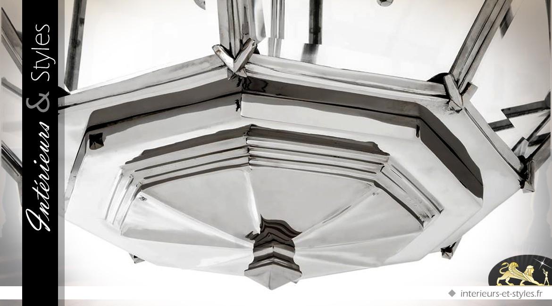 Suspension lanterne polyèdre argentée Ø 80 cm