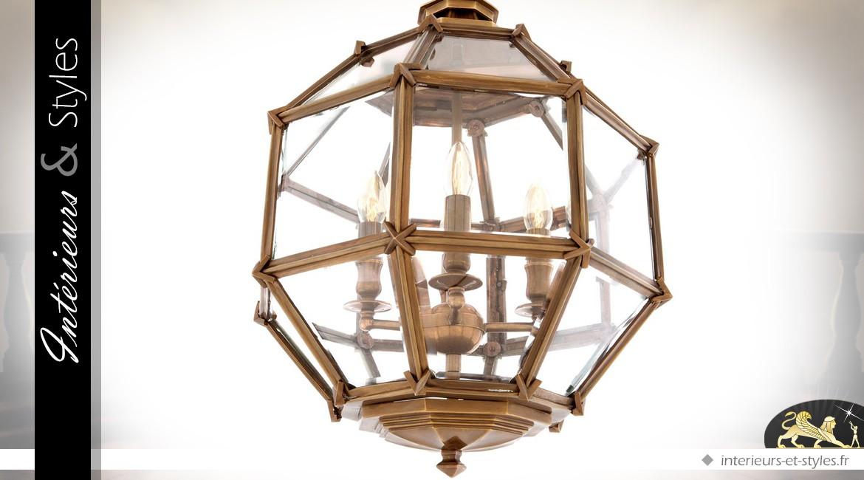 Suspension lanterne polyèdre dorée cuivrée Ø 43 cm