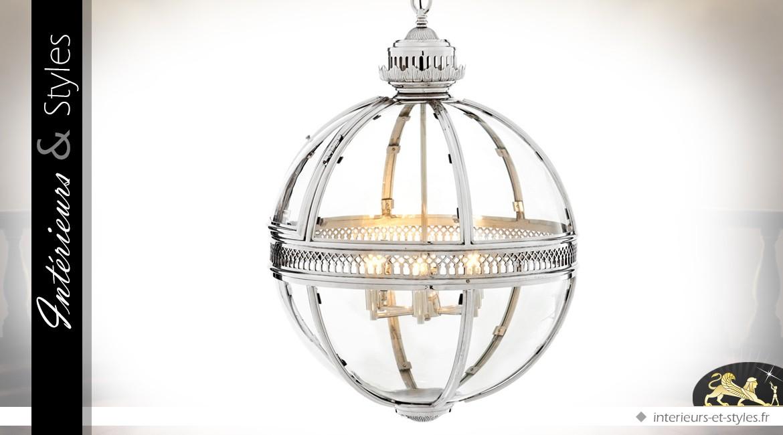 Suspension lanterne sphérique rétro argentée Ø 60 cm
