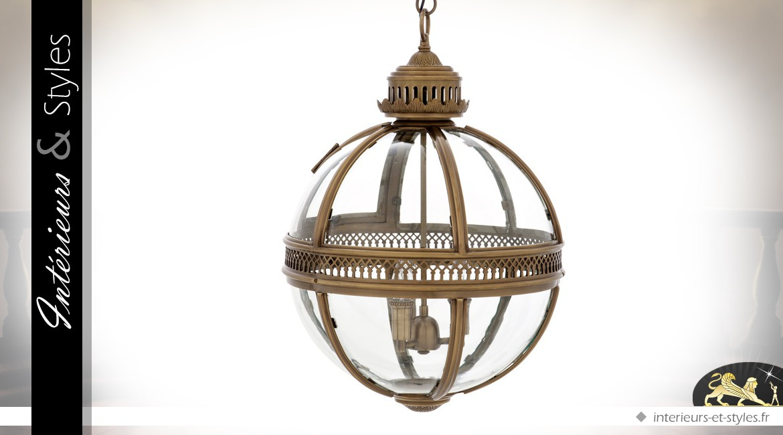 Suspension lanterne sphérique rétro dorée Ø 43 cm