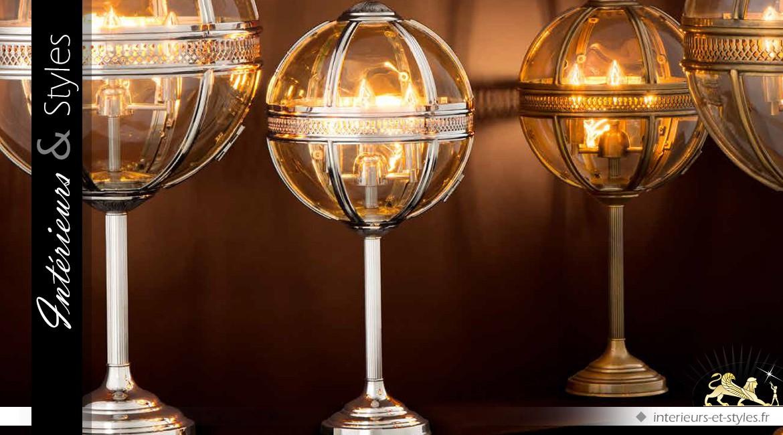 Luxueuse lampe sphérique en nickel argenté et poli 63 cm