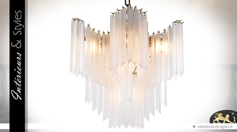 Suspension design Art Déco effet verre givré Ø 60 cm