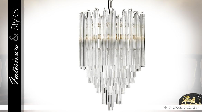 Lustre design style Art Déco en tubes cristallins 61,5 cm