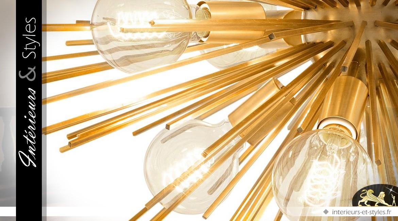 Grande suspension design soleil laiton doré Ø 90 cm