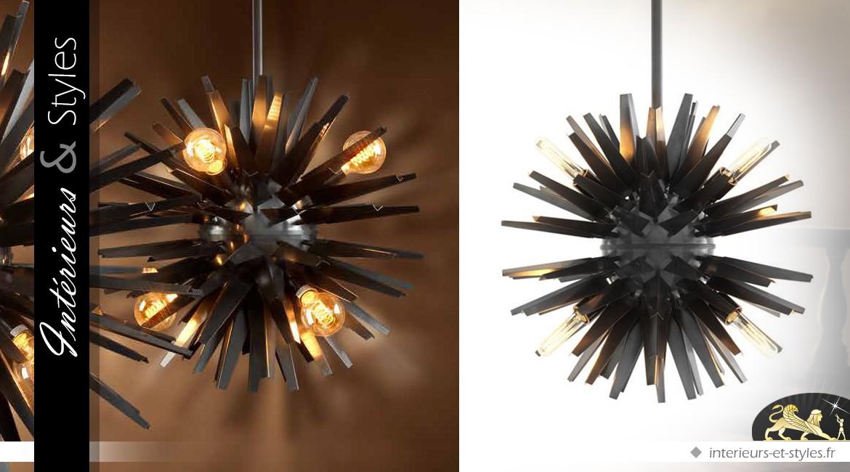 Suspension design Soleil noir finition bronze Ø 56 cm