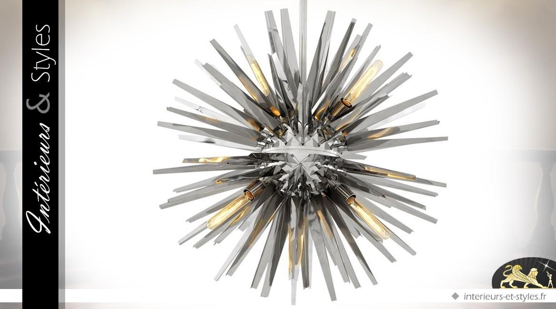 Suspension design Soleil argenté finition nickel Ø 82 cm