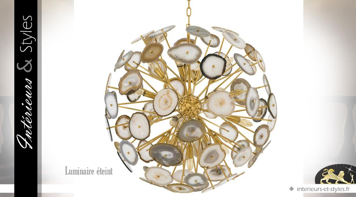 Grande suspension design dorée avec pierres d'agate Ø 85 cm