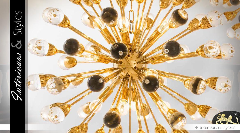 Suspension dorée design 12 feux Ø 75 cm