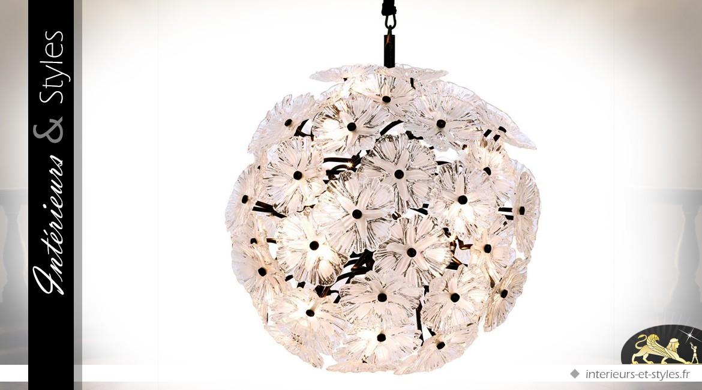Suspension design argentée en forme de sphère fleurie Ø 100 cm