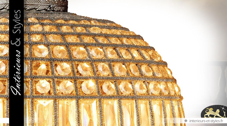 Lustre ovale à pampilles sur canevas nickel argenté Ø 52 cm