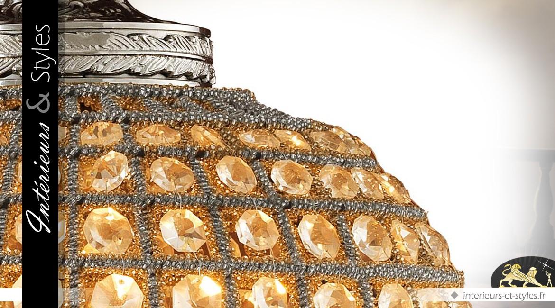 Lustre ovale à pampilles sur canevas nickel argenté Ø 38 cm