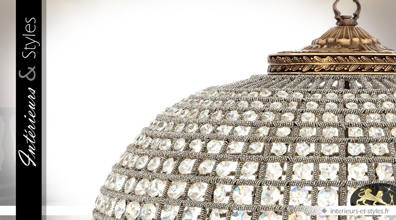 Lustre ovale à pampilles finition bronze doré Ø 70 cm