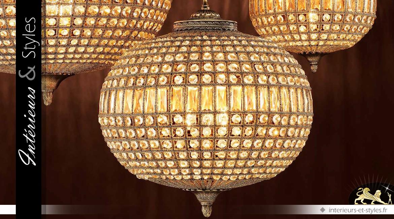 Lustre ovale à pampilles finition bronze doré Ø 52 cm