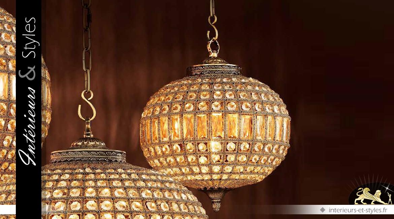 Lustre ovale à pampilles finition bronze doré Ø 38 cm
