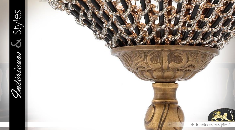 Suspension Empire à pampilles finition bronze doré 65 cm