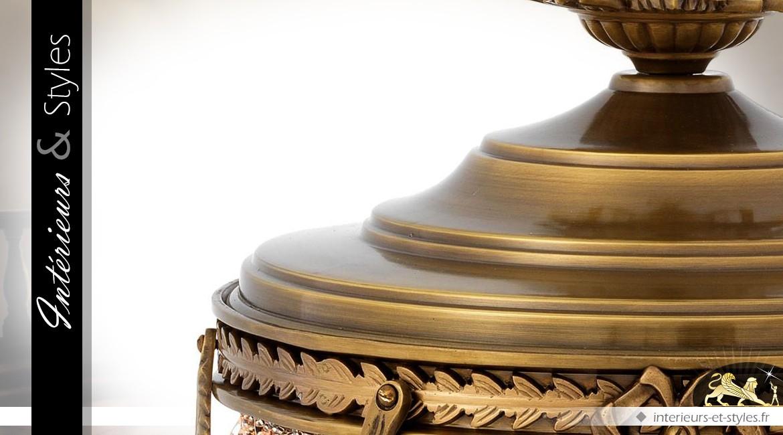 Suspension Empire à pampilles finition bronze doré 58 cm