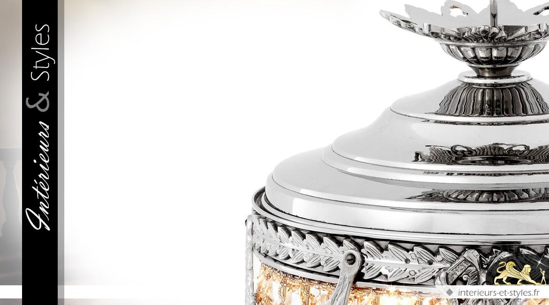 Suspension Empire à pampilles finition nickel argenté 65 cm
