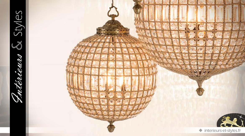 Lustre sphère à pampilles et laiton doré ancien 64 cm